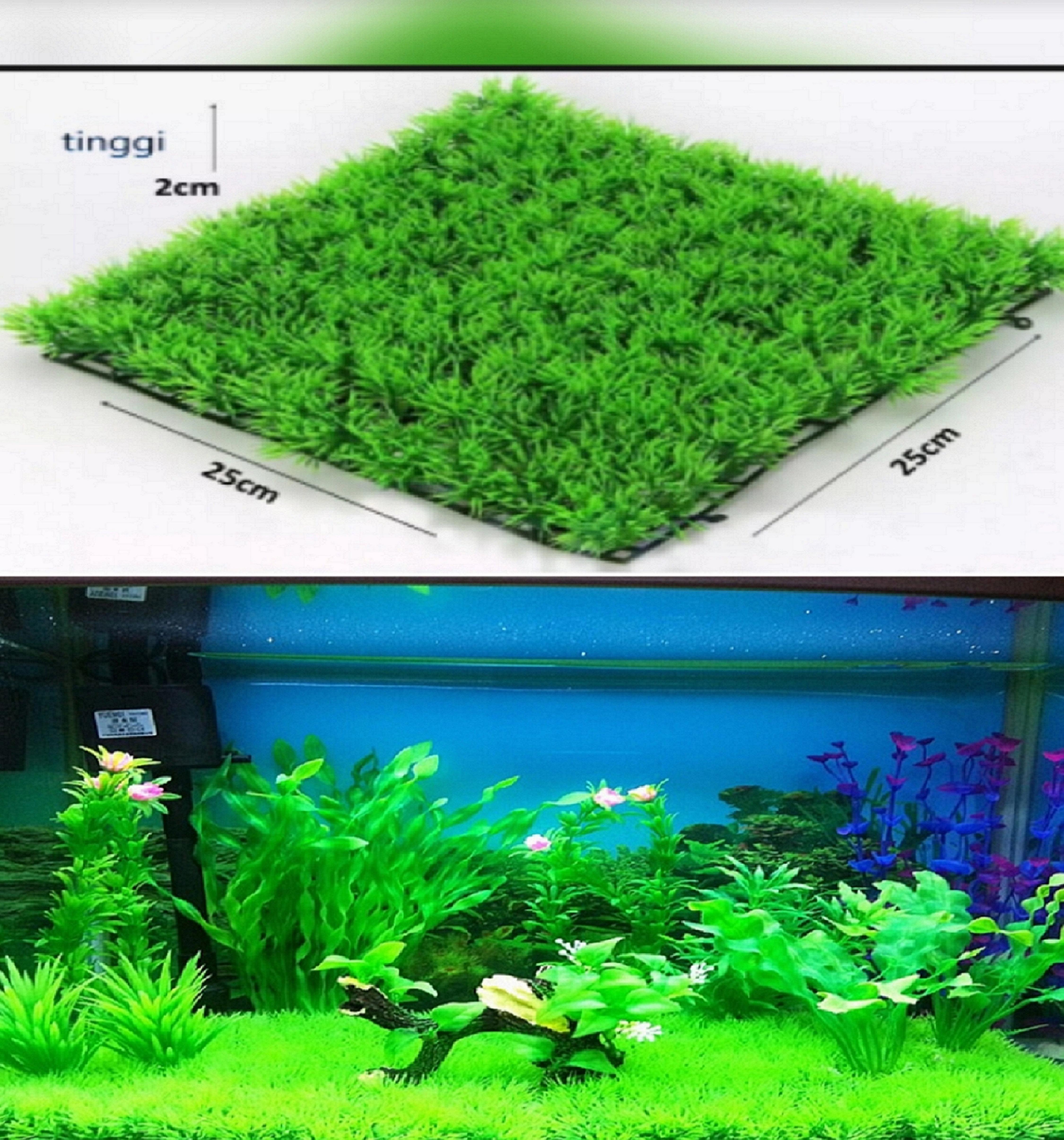Rumput Sintetis Dasar Aquarium Uk 25x25 Cm Lazada Indonesia Rumput sintetis untuk aquarium