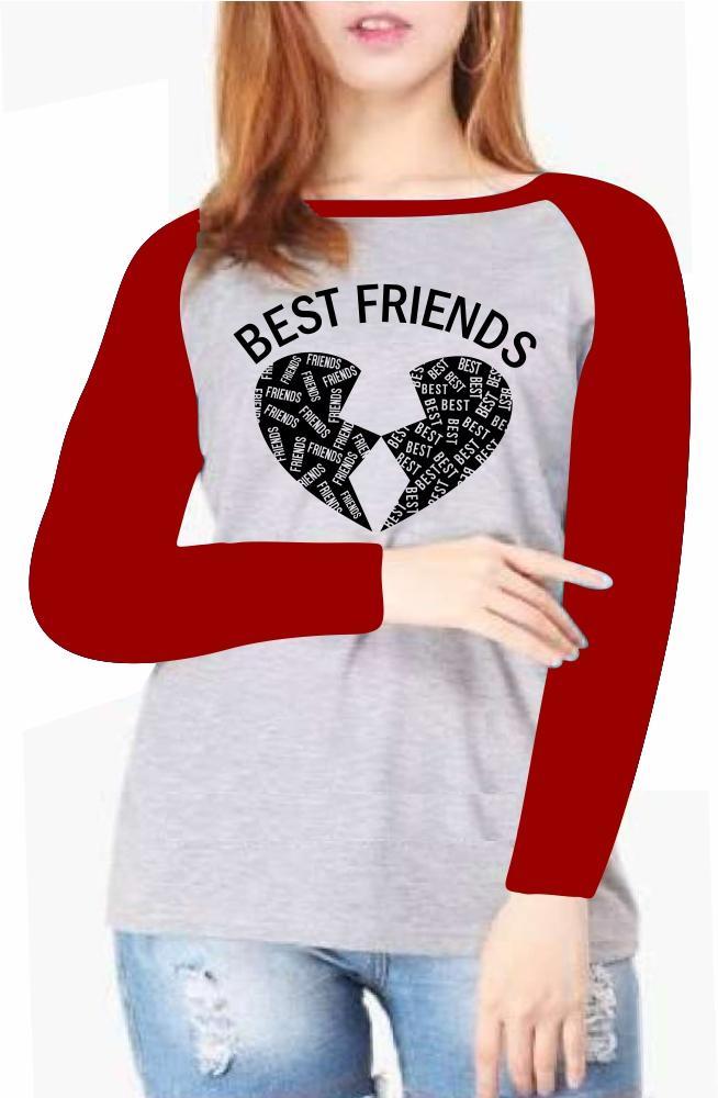 MIRAFARZANASHOP-Kaos Atasan Wanita Lengan Panjang ( BEST FRIENDS ) Kaos Wanita/ Kaos Cewek/ Kaos Oblong/ Baju Kaos Tshirt/ Tshirt wanita/ Tshirt cewek/ Tshirt Oblong/ Baju Ragaln Lengan Panjang/ Kaos Raglan Lengan Panjang/ Baju Wanita/ Baju Cewek/ Baju Ts