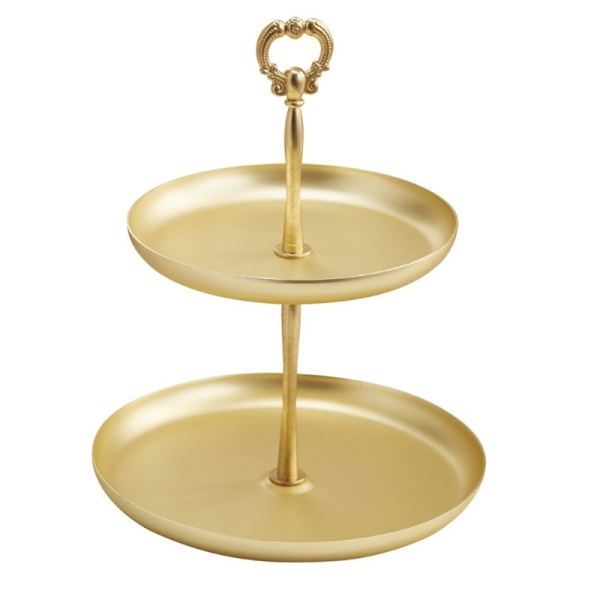 Two-Tier Gold Jewelry Tray Serving Plate Tray Food Storage Ornaments Necklace Ring Earring Tray Home Decoration