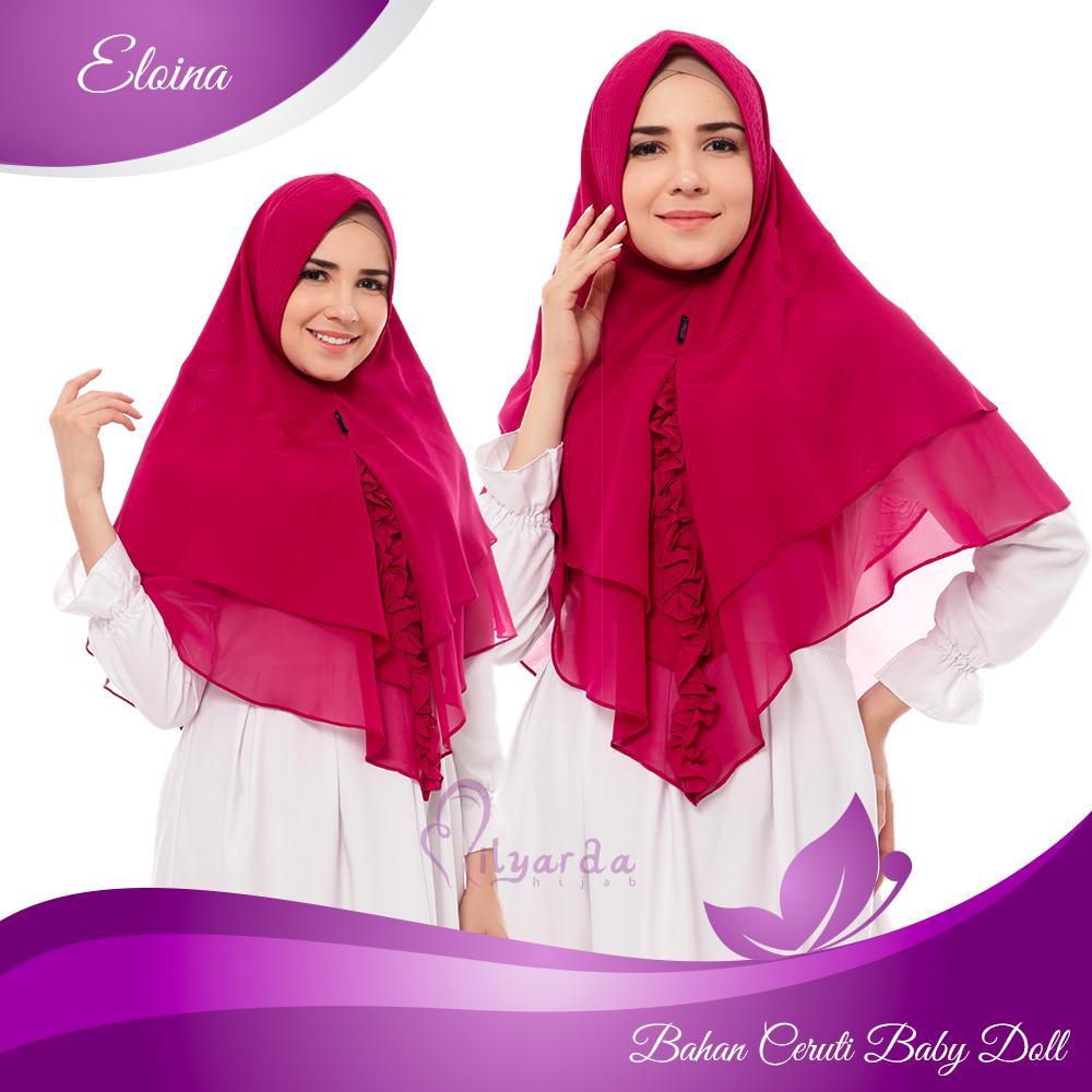 Khimar Eloina/ Hijab Instan Pet Antem/ Jilbab syari/ Kerudung - ( Warna Merah )