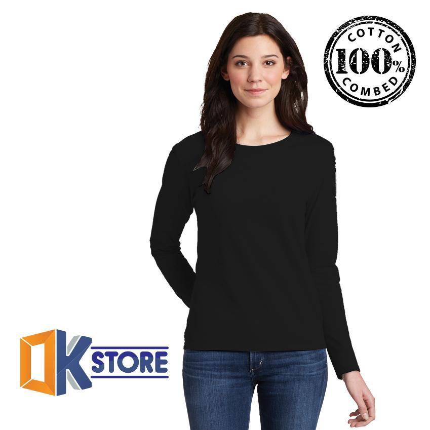 KaosOke-T-Shirt Wanita Kaos Polos Wanita Lengan Panjang Cotton Combed 30's - Putih