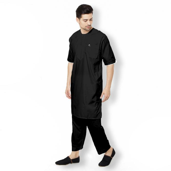 Al-Isra SETELAN Arabi Gamis Pakaian Muslim Pria (Putih)