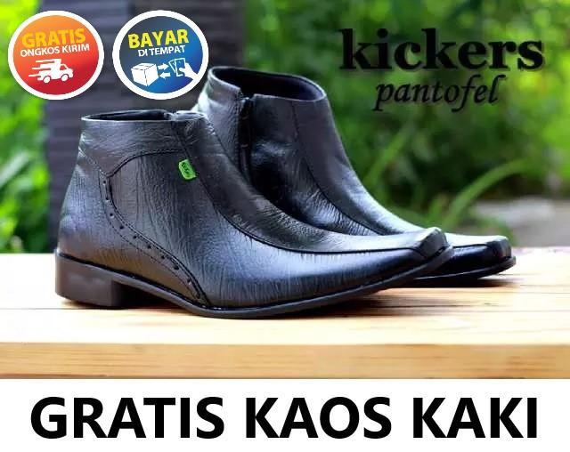 Sepatu Pantofel Pria Kulit Asli Kickers High Cacing Formal Kerja Kantoran Slop Casual - Free Kaos Kaki