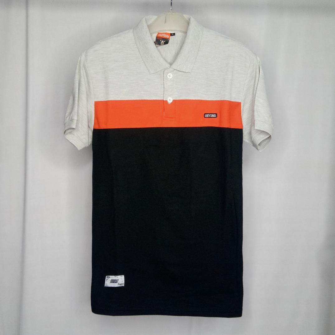 Baju kece polo shirt abu muda orange mix hitam poloshirt pria kaos kerah pria santai casual