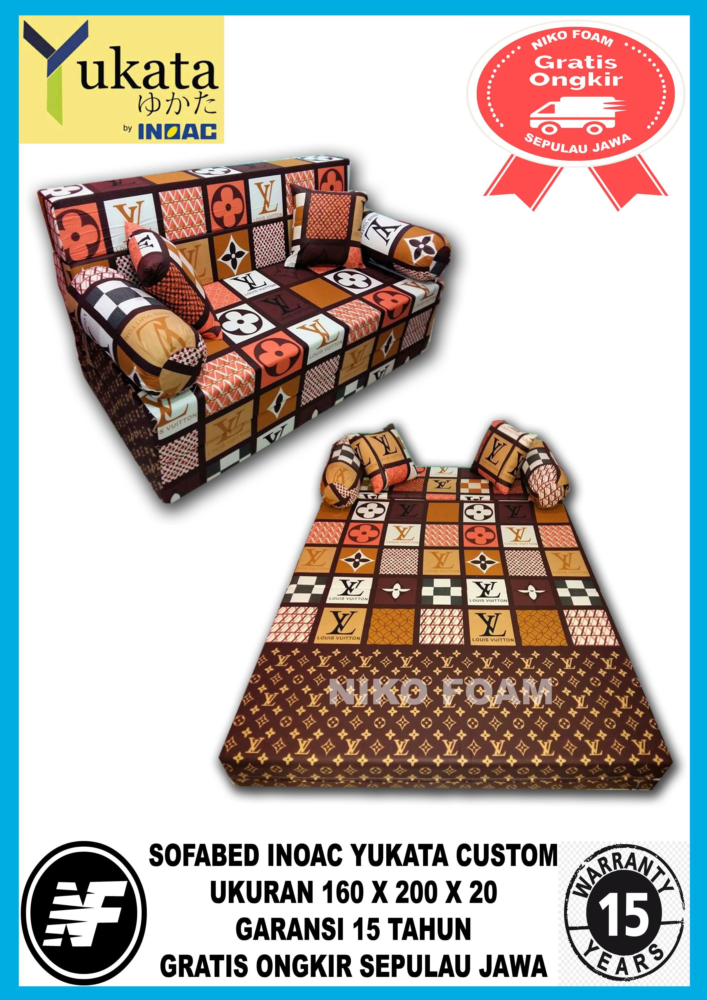[ GARANSI 15 TAHUN ] Sofa Bed minimalis / Sofa Bed Inoac / Sofa Bed murah / Cover Sofa Bed / Sofa Bed karakter / Sarung Sofa Bed / Sofa Bed lipat /   informa Sofabed/kasur  Inoac   YUKATA CUSTOM No 2 (160 X 200 X 20) LV COKLAT