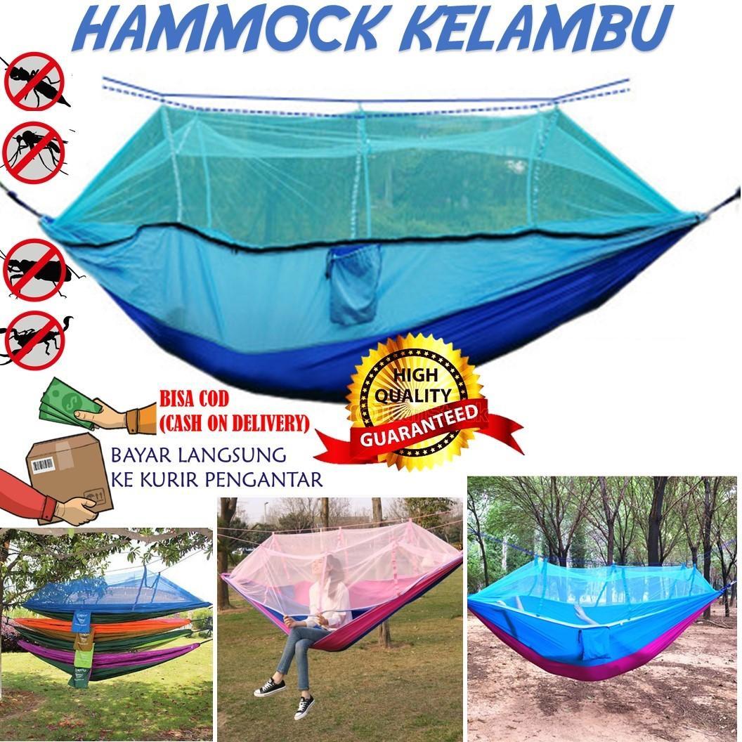 Promo!! Hammock Kelambu Hamok Tempat Tidur Ayunan Kasur Gantung Camping Outdoor Kuat Ringan Praktis Pendaki Adventure Hiking Traveling Backpacking Backpacker Pantai Murah By Antarestar.