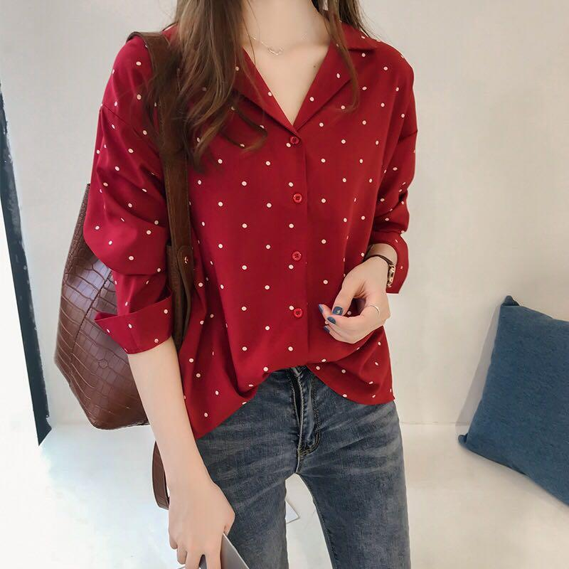 88778be5fe 2018 Early Autumn Women s Dress New Style Hong Kong Flavor Polka Dot Printed  Chiffon Shirt Female