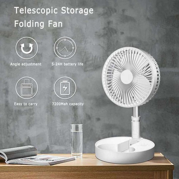 Liplasting【Ready shipping】1pcsFolding Telescopic Mini Fan USB Rechargeable Portable dormitory bed office desktop high wind electric fan