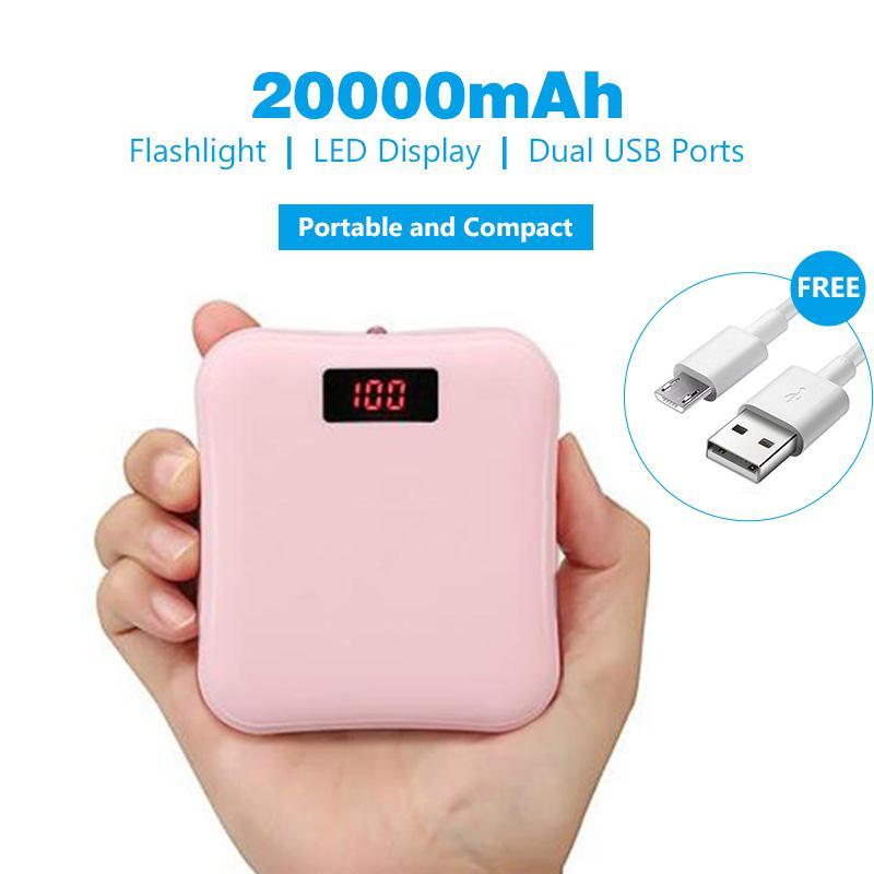 Powerbank 20000mah Fast Charging 2.1A Dual Output power bank Stok pink dan hitam