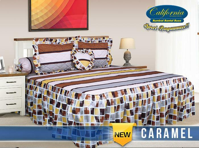 Sprei California Rumbai Caramel No.1 King 180 Seprai Rempel Kotak Tile By Yalstore.