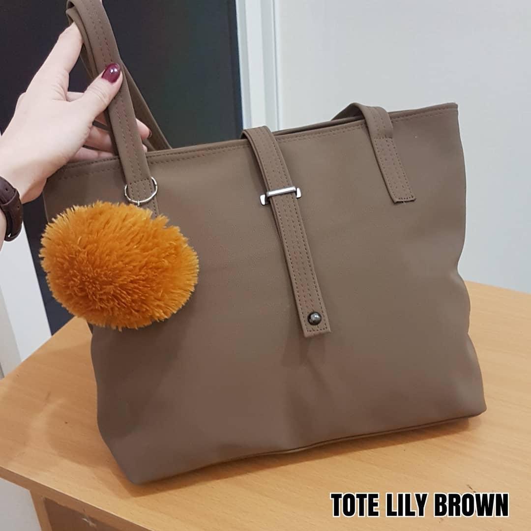 Ubay Shop - Tote Bag Wanita Lucu Bonus Gantungan Bulat pompom random