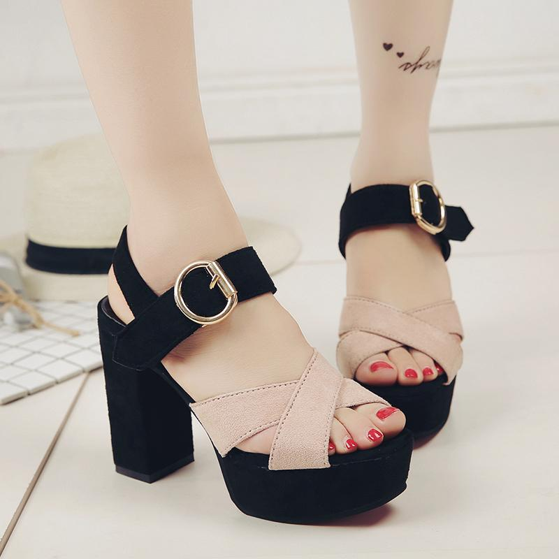 4e9027f8e201 Straight-line Buckle Wedge Sandal Female Open Toe Anti-slip High Heel Shoes  2019