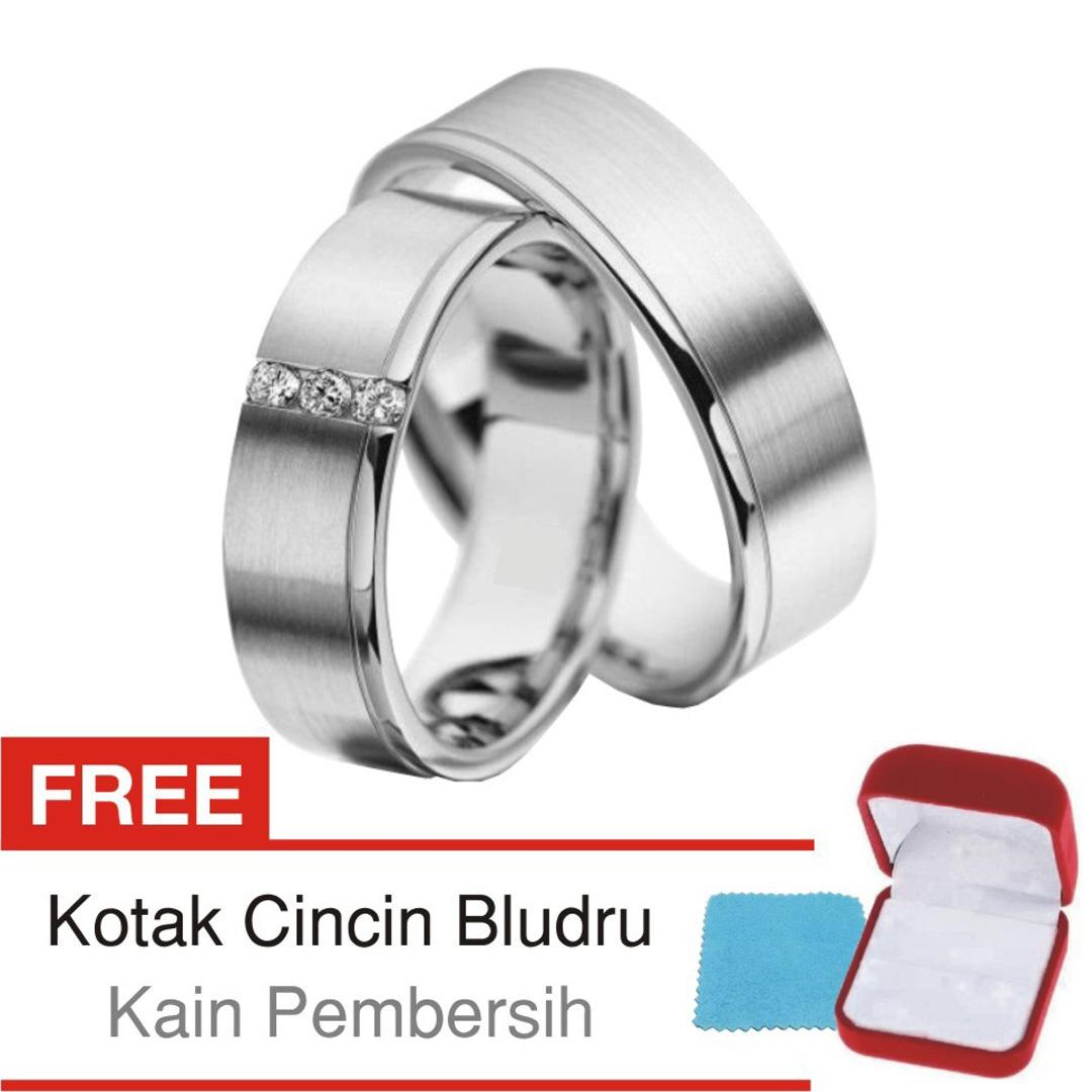 Cincin Tunangan Couple Perak Lapis Rhodium-Doff D.129 - Silver Exclusive