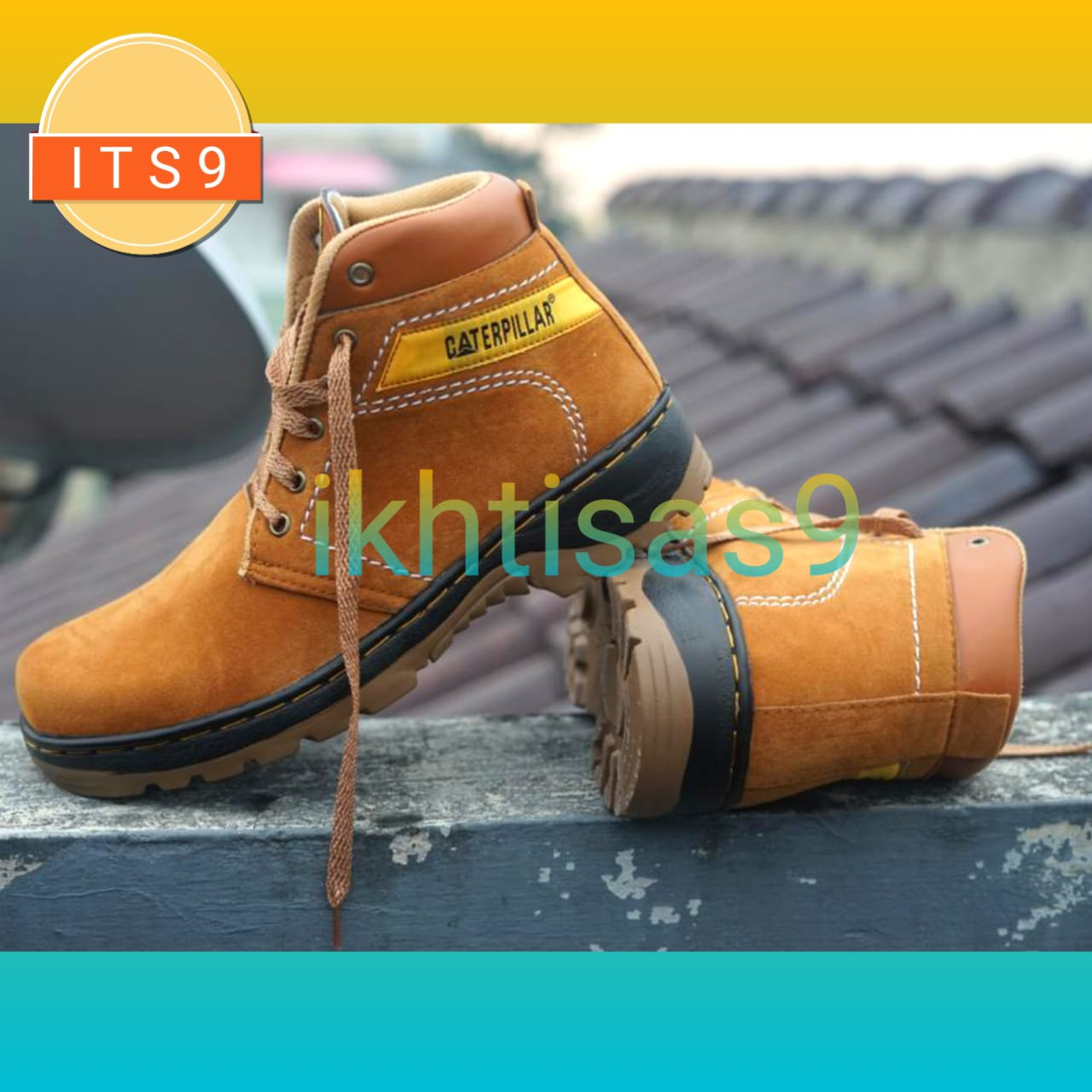 [ITS] -  Sepatu Boots Safety Formal Caterpillar Leather Oil Resistant Men Shoes + ( GRATIS SANDAL LAKI-LAKI )