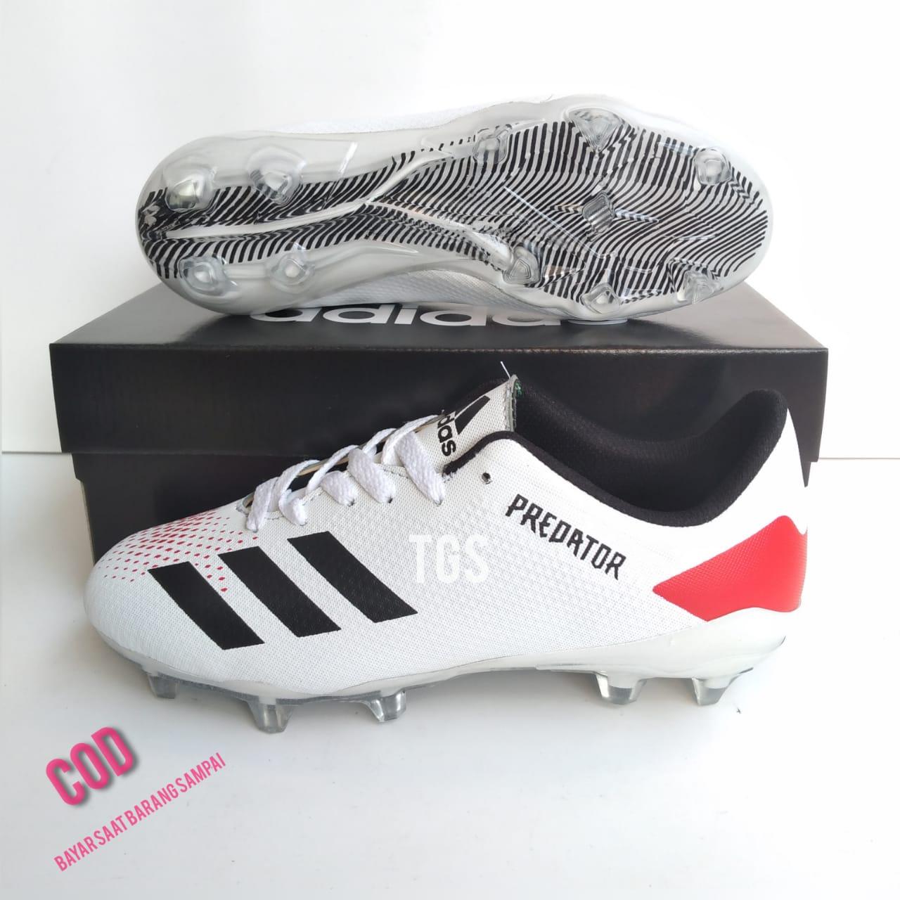 Sepatu Bola_Adidas_Predator White Black Red Terbaru