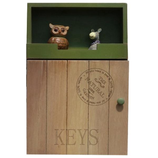 Wood Storage Rack for Key Boxes Home Decor Organizer Storage Holder Sundries Hanging Wall Storage Case Green Wood Shelf Rack