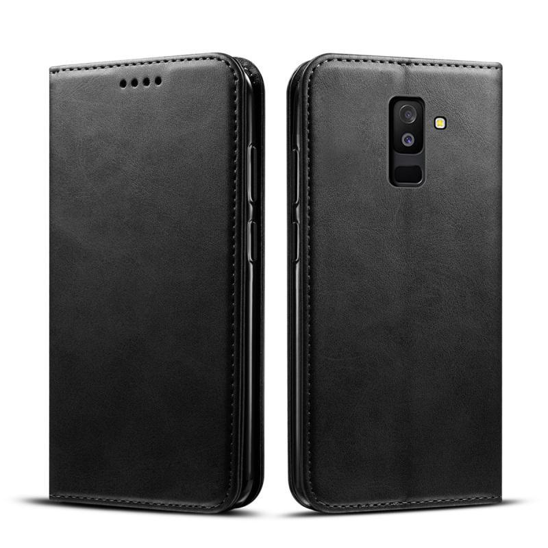 Casing Ponsel untuk Samsung Galaxy A6 Plus 2018 Calf Kulit PU Dompet Sarung Lipat Berdiri Cangkang Pelindung dengan Tempat Kartu