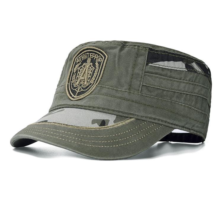 Gerinda musik Pria kamuflase topi Tentara topi datar Luar rumah topi  Pelindung Sinar Matahari casual Musim 67a2fe90c3