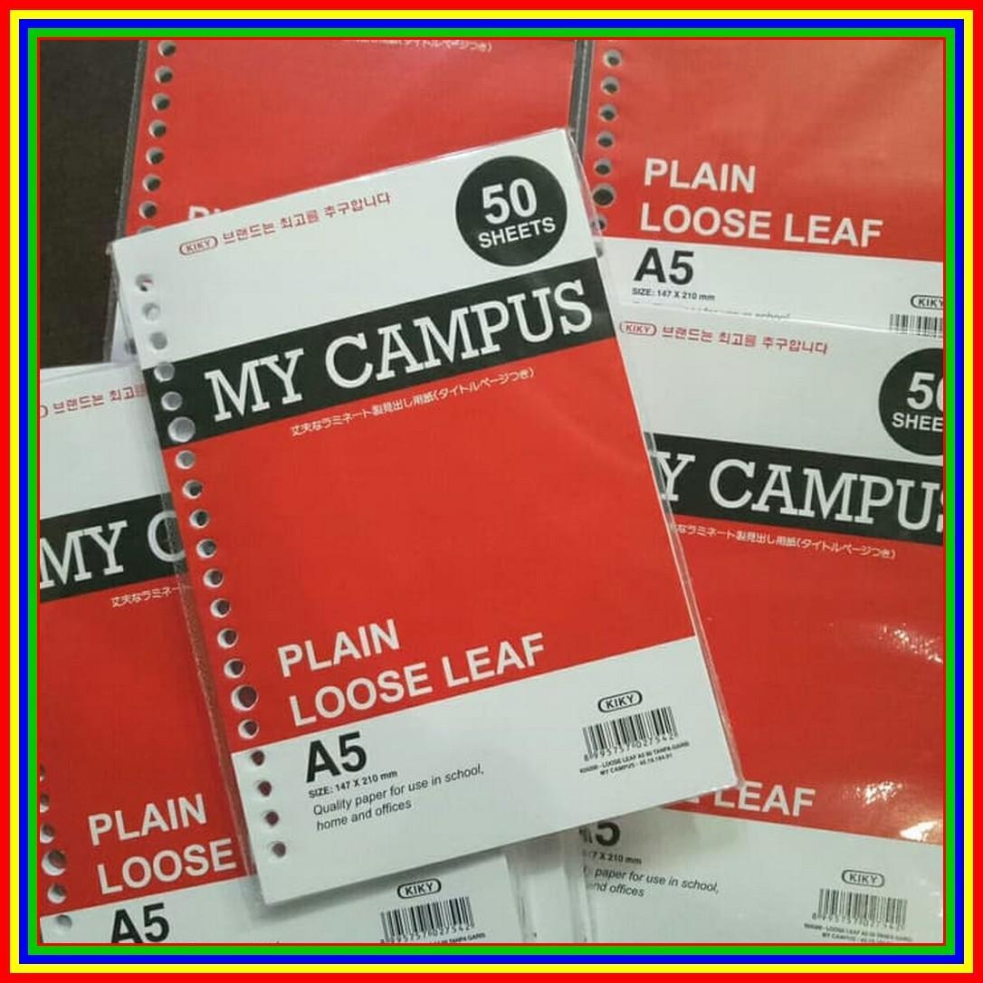 Kertas Loose Leaf A5 50 Lembar Polos Kiky Kertas Binder 20 Ring Plain