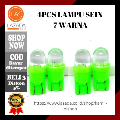 4 PCS Lampu Sein / Sen 7 Warna T10 Berkedip - Kedip Variasi Lampu Sein Motor