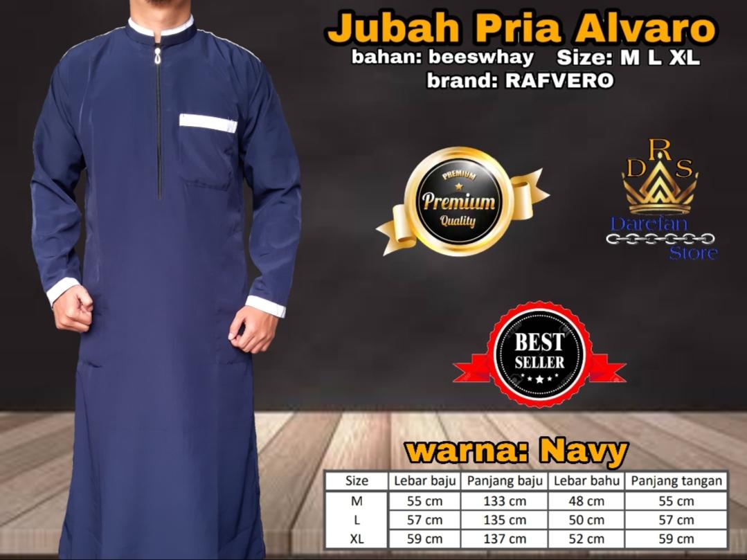 Darefan store Jubah Gamis Pria Muslim ALVARO NAVY /Baju Koko Terlaris Size  M L Xl