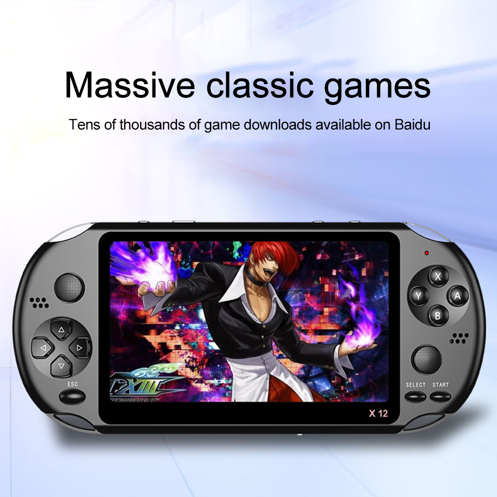 Bombiu【game Console】 X12 5.1 Inch Dual Joystick Inch Handheld Psp Video Arcade Game Console Nostalgic 8gb Psp Fc Gba Nes Built-In 10000 Game Console  (white/black).