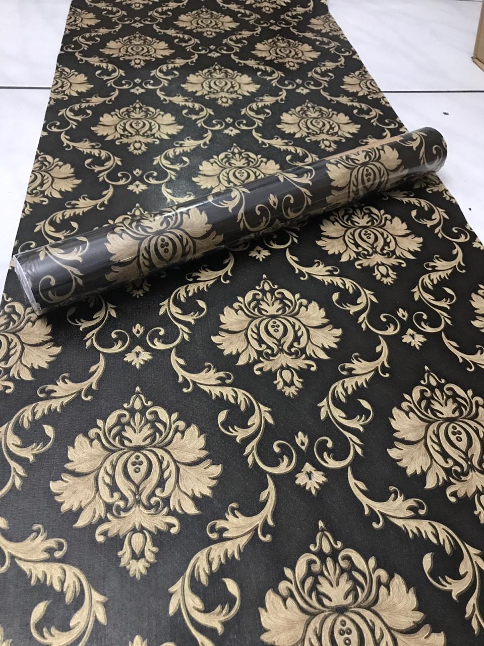 Wallpaper Stiker Dinding Motif Dan Karakter Premium Quality Size 45cm X 10M Batik Gold Dasar Hitam