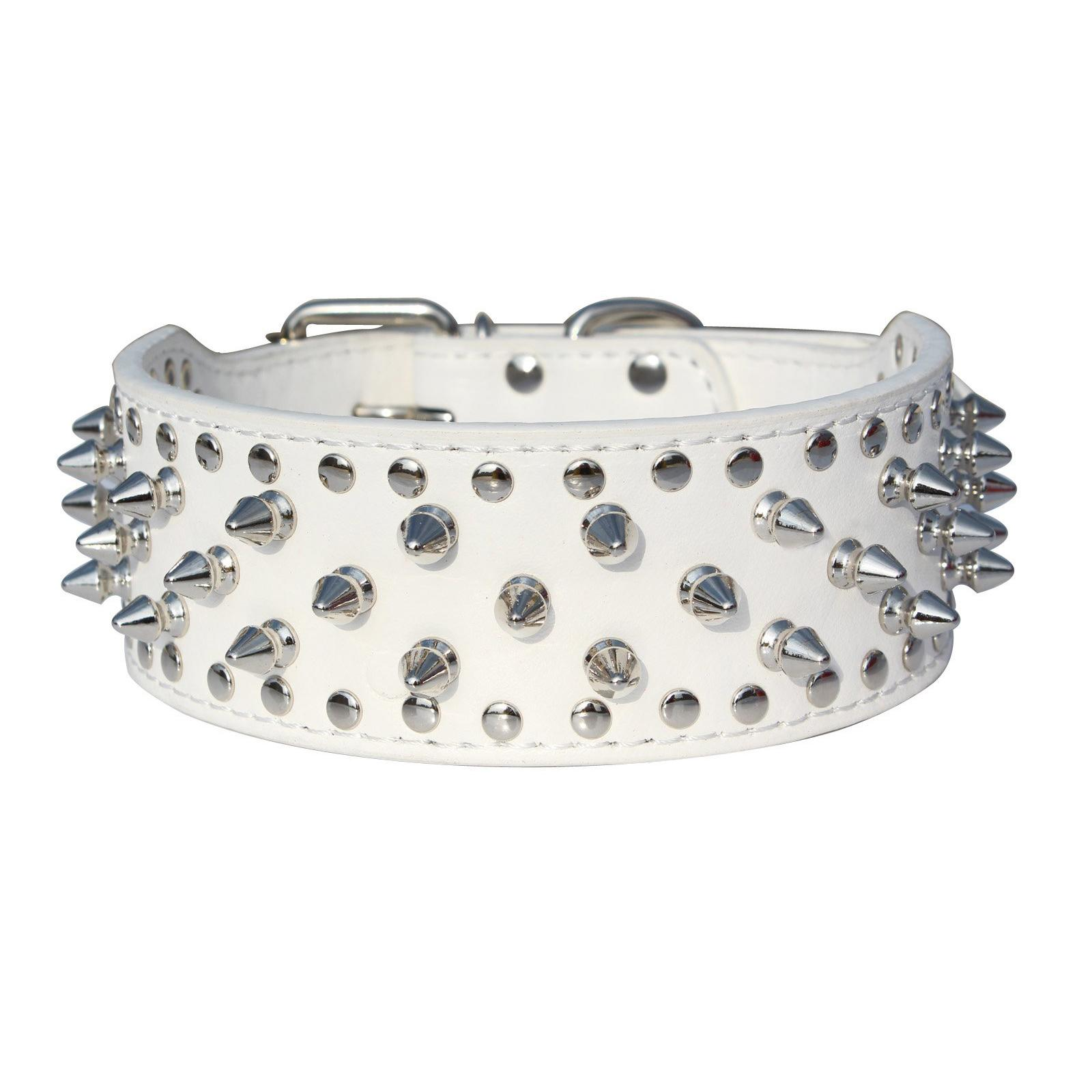 Pu Leather Spiked Studded Dog Collar 2 Wide 31 Spikes 52 Studs-White S By Sunnny2015.
