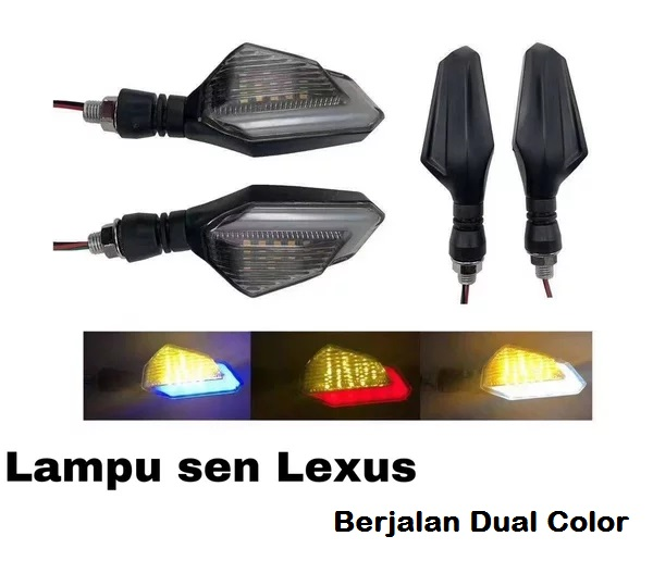 Lampu Sein + Senja Led Model Lexus Berjalan Running Sen Reting Motor Dual Color Sepasang / 2 Pcs
