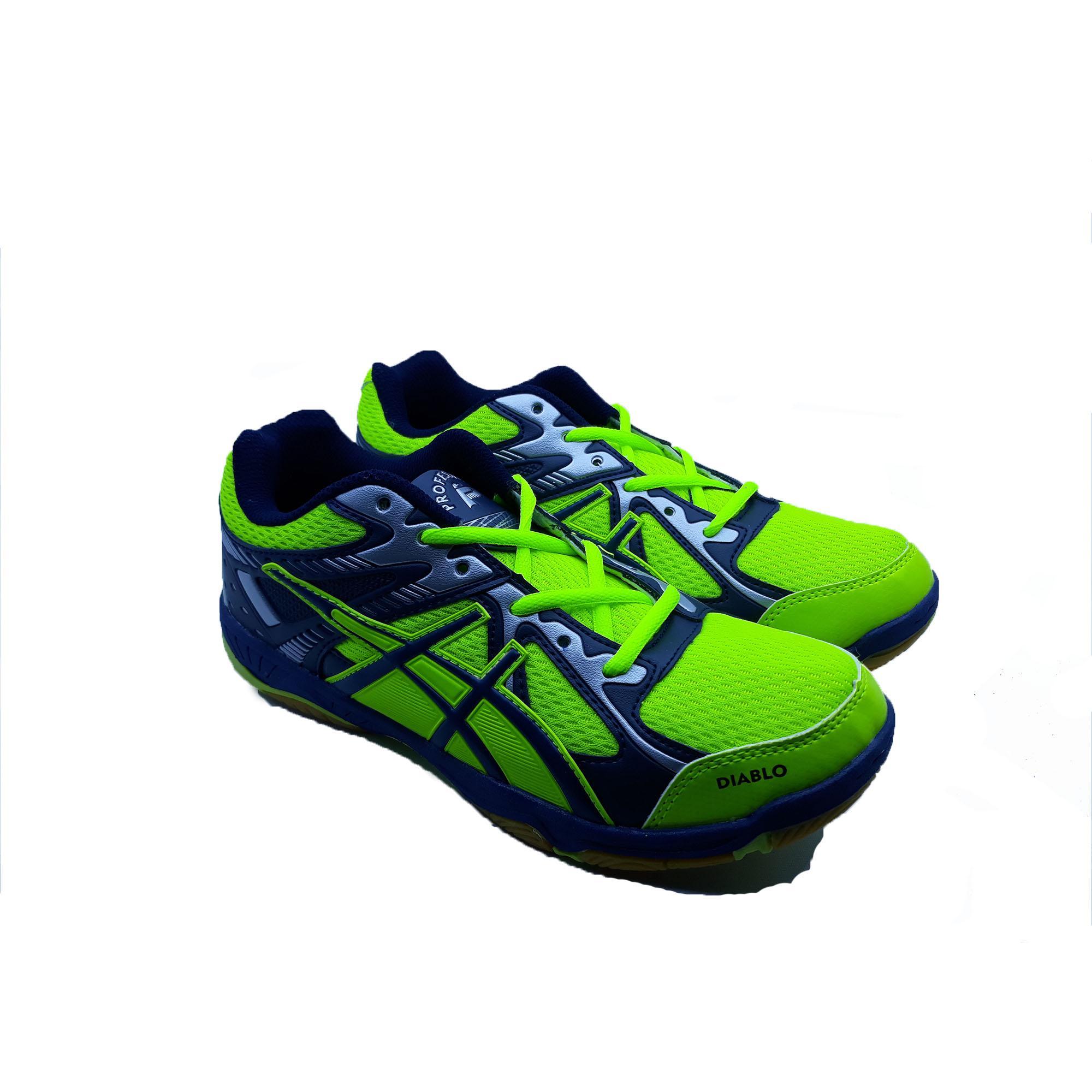 Sepatu Olahraga Badminton Professional Diablo - Neon Green Navy Silver cfb27c5758