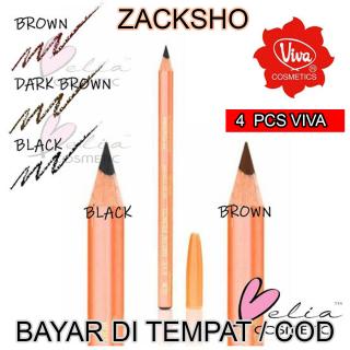 Zacksho [4 PCS] Pensil Alis VIVA - Eyebrow Pencil Original - Warna Coklat Dan Hitam Pensil Alis Viva Queen thumbnail