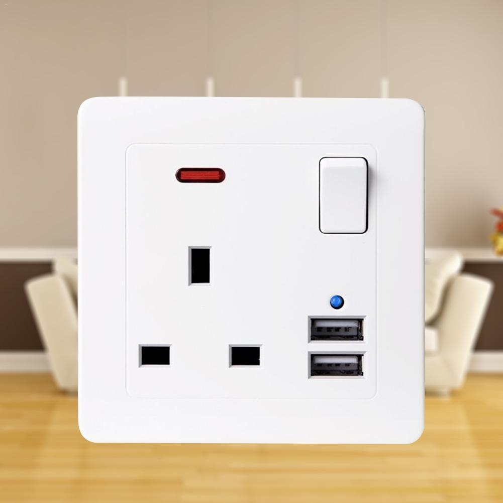 Avoize[COD][Free Shipping]Wall Socket with USB 3.1A 2 Gang 13A High Quality and Long Lasting (White) UK