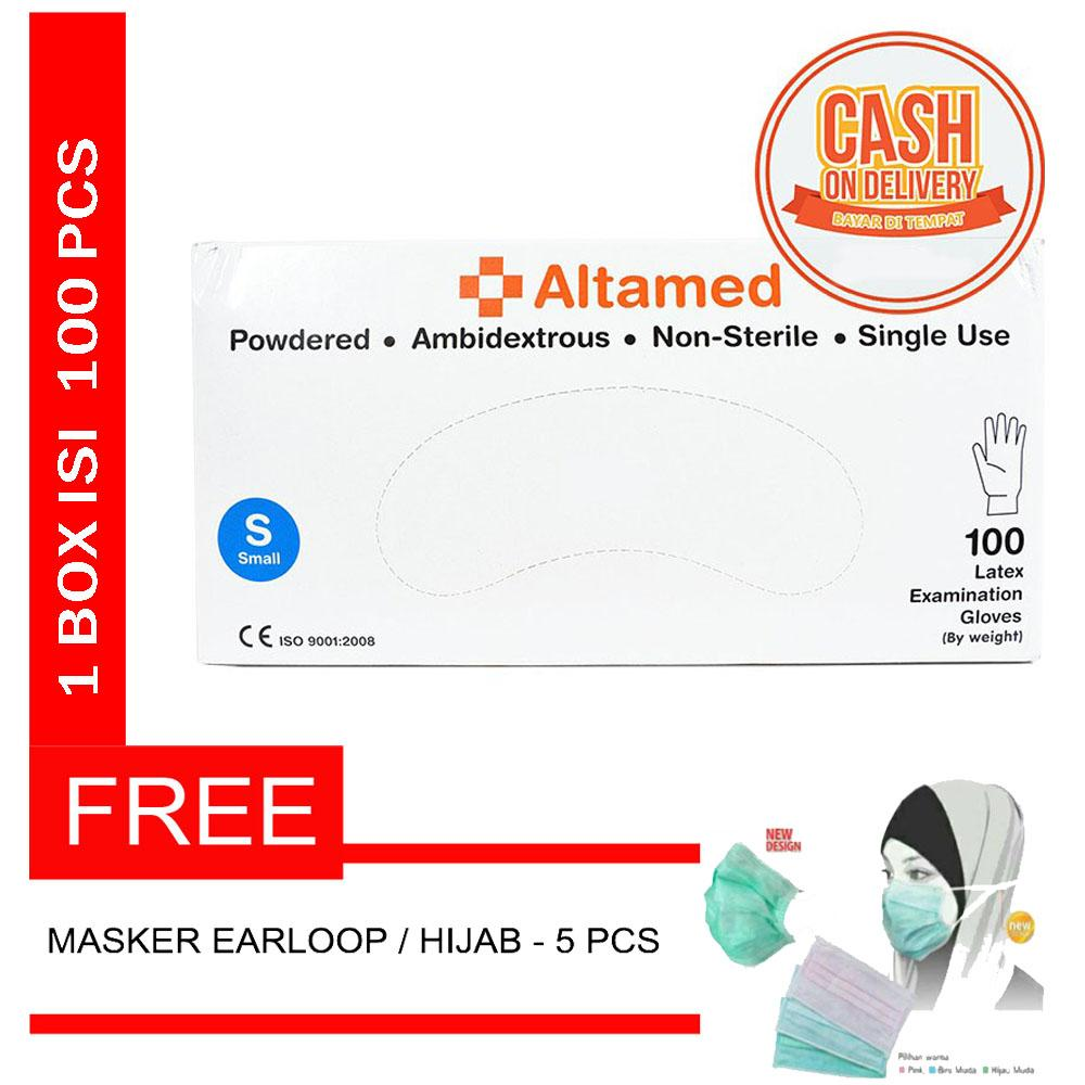 Altamed Surgical Glove Latex Non Steril / Sensi Sarung Tangan Karet / Handscoon - Size S + FREE MASKER