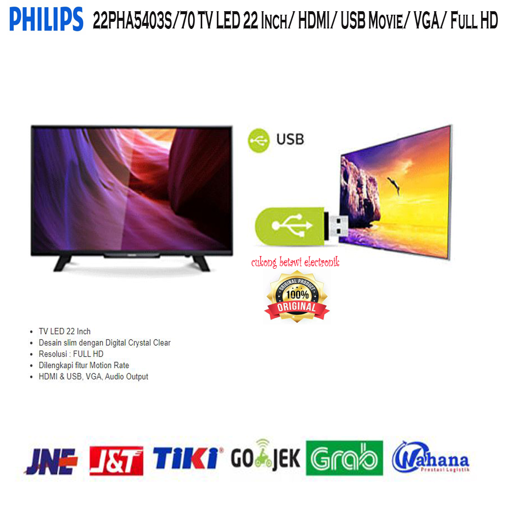 Philips 22PHA5403S-70 TV LED 22 Inch HDMI USB Movie VGA Full HD-Resmi