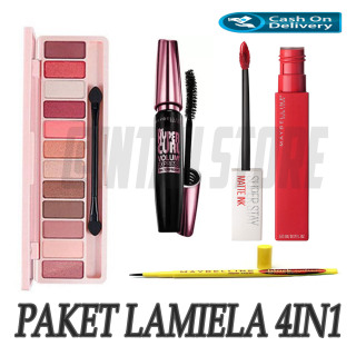 Paket Makeup Kosmetik Murah - Eyeshadow Eye Shadow Lameila + Eyeliner Eye Liner Spidol Maybelline + Maskara Mascara Maybeline + Lipstik Lip Cream Mate Ink thumbnail