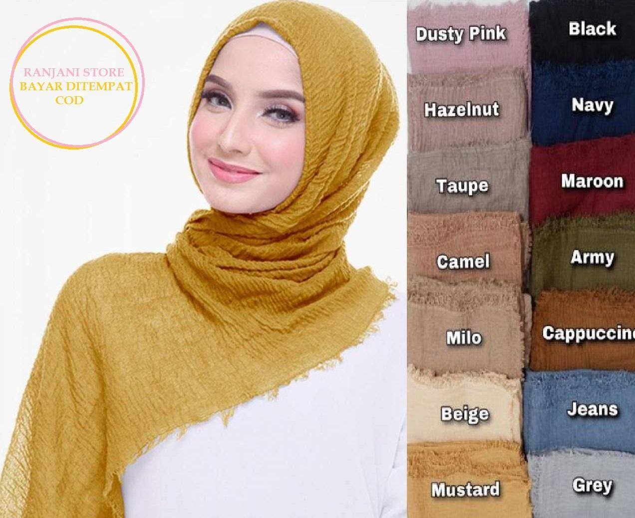 Promo Hijab Pasmina Crinkle / Jilbab Pashmina Crinke Shal / Shawl Crinkle / Kerudung Phasmina Cinkle / Jibab Hijub Pasmina Hijab Pasmina Tringkel / Polos Basic Panjang Warna Terlengkap MURAH - Rstore