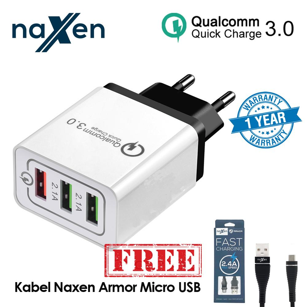 Naxen Charger USB 3 Ports Travel Charger Qualcomm QC 3.0 Universal USB Home Charging Quick Charge 3.0 Wall Charger For Iphone Samsung Xiaomi Oppo Huawei Mobile Phone FREE NAXEN KABEL MICRO ARMOR