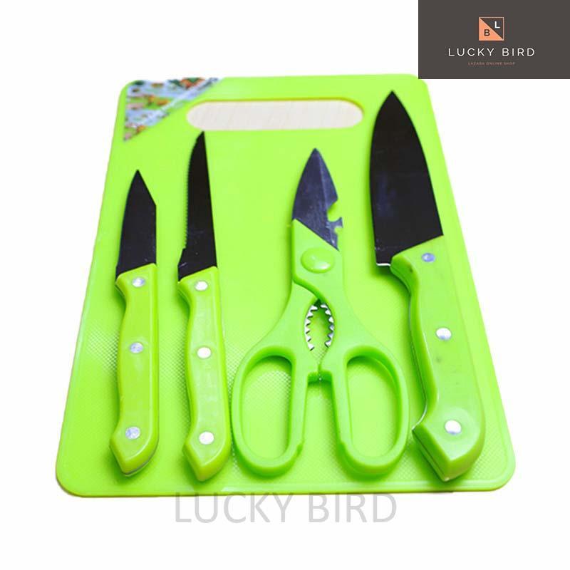 Set Talenan Dapur Lengkap Plus Pisau Dan Gunting 5in1 /talenan Plastik/ Pisau Dapur/ Pisau Peeler 20cm*30cm By Lucky Bird.