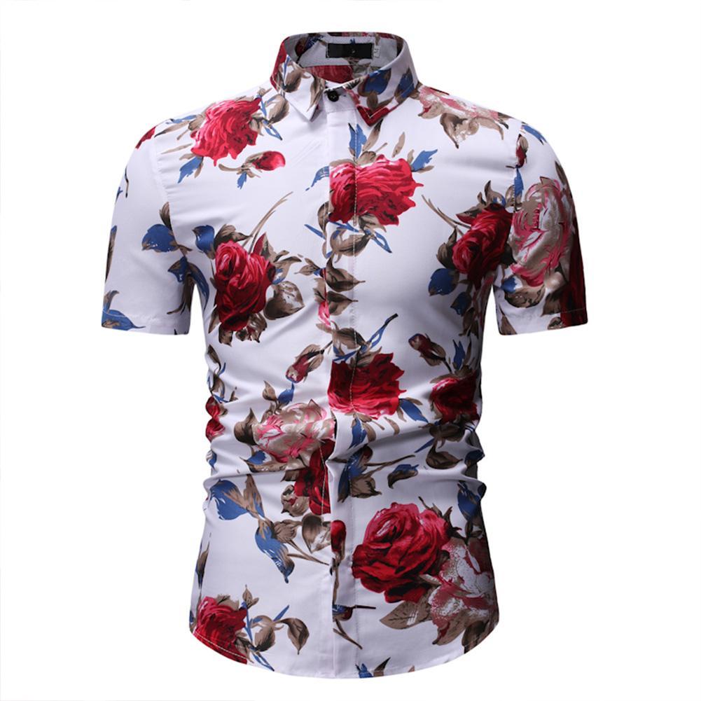 RD Men Summer Casual Flower Printed Shirt