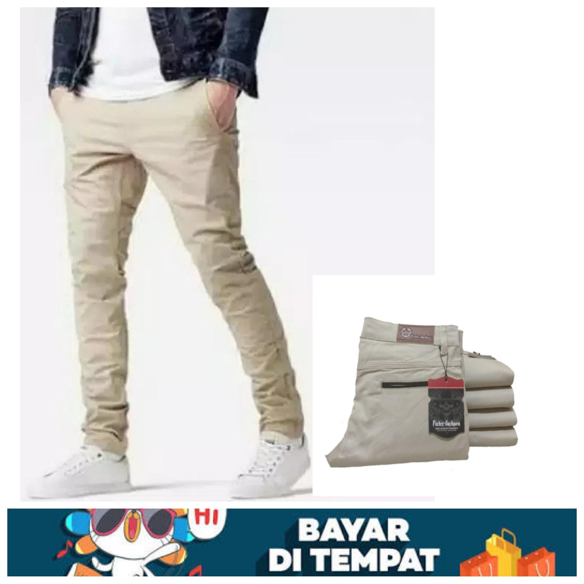 celana panjang chino pria - chino pants original berkualitas (Cream) d6eb7c6b1d