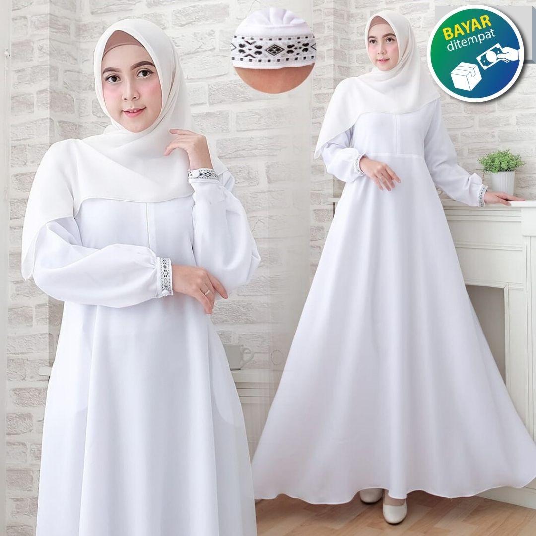 a&d_II Others Gamis Syari Gamis Putih Polos Gamis Wanita terbaru Gamis  Putih Murah Gamis Manasik Haji Gamis Umroh Size L XL XXL XXXL Gamis Putih