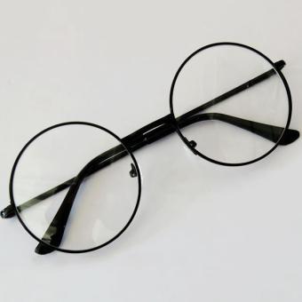 Kacamata Bulat - Fashion - Unisex - Hitam - Clasic Round Glasses Boboho 45e854500b