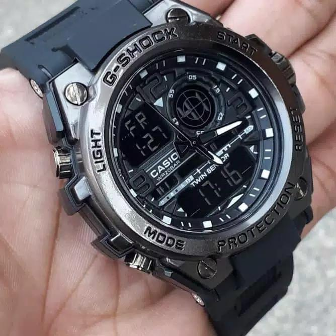 PROMO JAM TANGAN PRIA CASIO G SHOCK_GST FULL BLACK ANTI AIR /WATERR RESIST SPORT FASHION