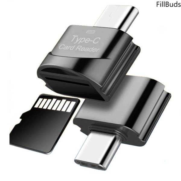 FillBuds Portable Mini Card Reader Type C Micro SD TF Memory Card Reader OTG Adapter USB 2.0 Card Reader for Phone