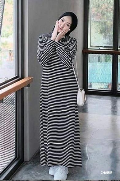 Samu44 Dress Muslimah Casual Stripi Maxi