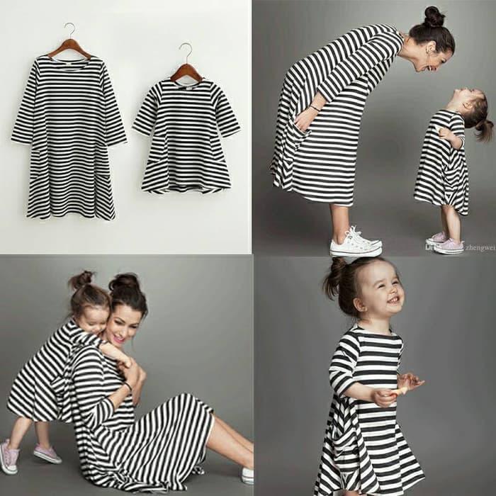 Promo Cp Dress salur mom kid Couple ibu dan anak baju pasangan