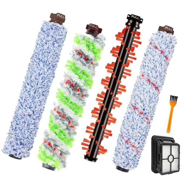 4 Pcs Brushes Roller,1 Filters,1 Cleaning Brush,for Bissell CrossWave 1866 1785 2052 1713 2225 Vacuum Cleaner
