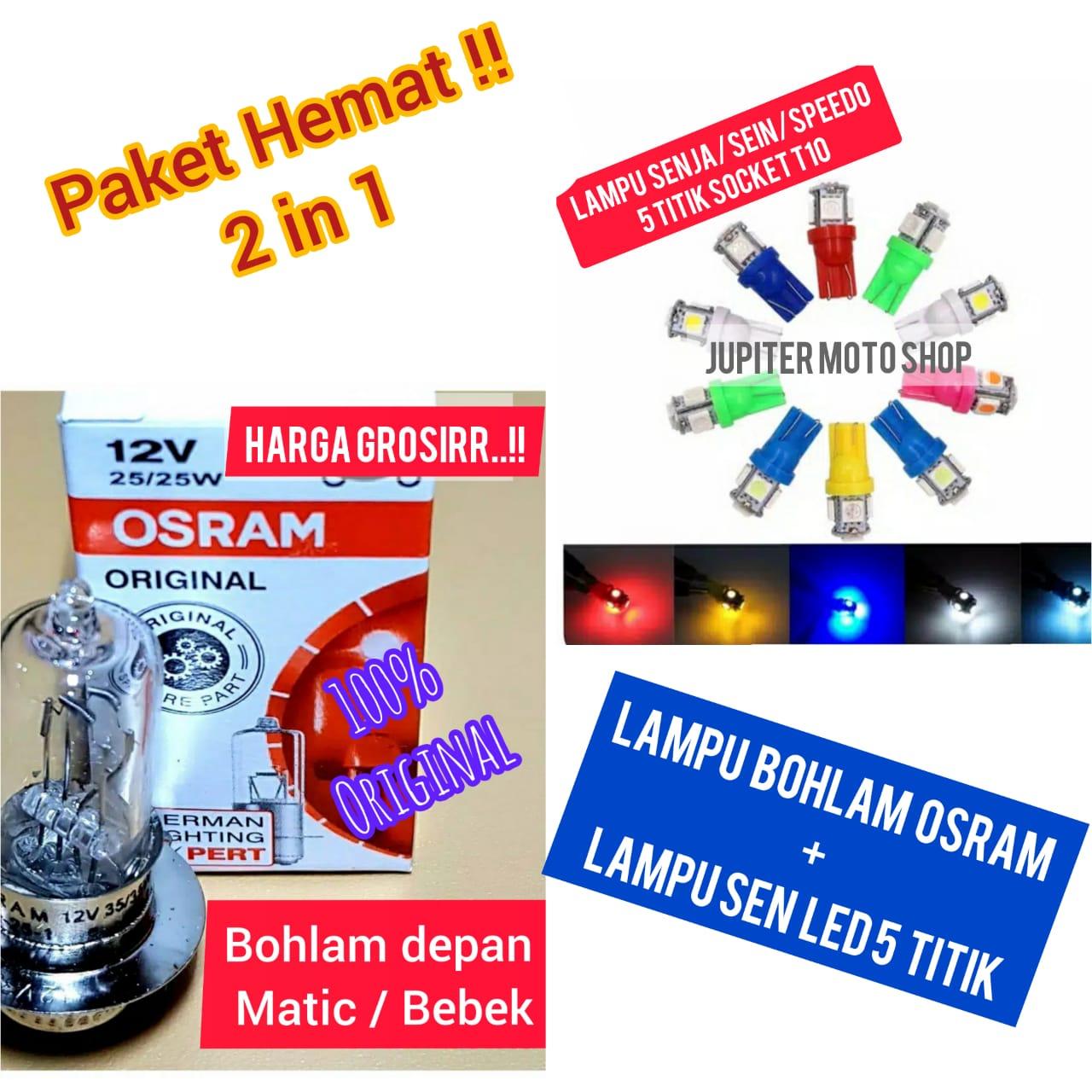 [paket 2in1] Lampu Bohlam Depan Beat Mio Vario Jupiter mx + Lampu Sen Senja LED 5 tItik