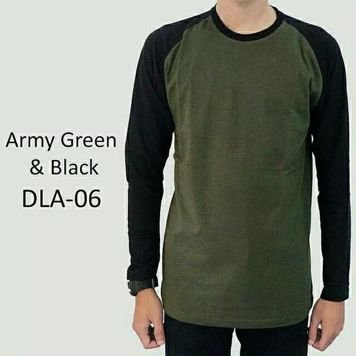 Kaos Polos Raglan Lengan Panjang Army Green & Black - DLA06