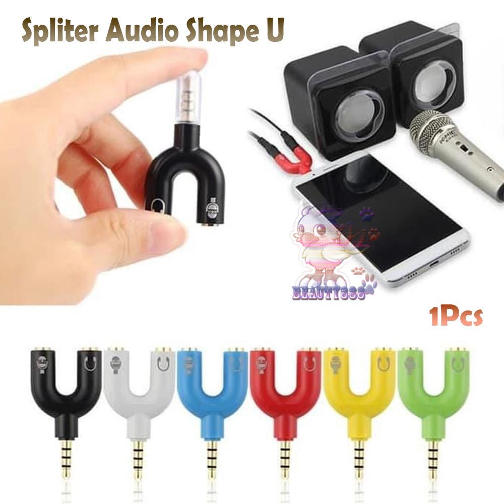 Beauty Conektor Spliter Audio Mini 1 Male To 2 Famale Audio 3.5mm Warna Warni Support Smule / Splitter Converter Jack Splitter Audio Stereo Universal / Cable Spliter Audio / Spliter Audio Shape U - Warna Random By Beauty888.